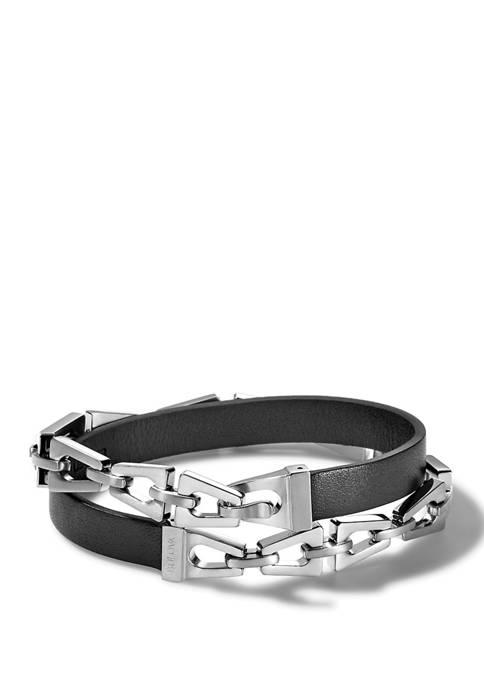 Bulova Steel and Leather Bracelet