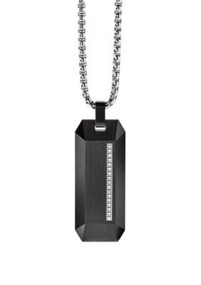 Bulova Stainless Steel Diamond Necklace - Black - 26 In