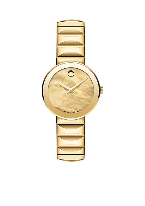 Movado Womens Sapphire Gold Watch