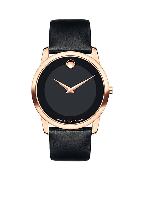 Movado Mens Rose Gold-Tone Museum Classic Black Leather