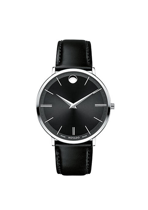 Movado Stainless Steel Black Mens Ultra Slim Watch