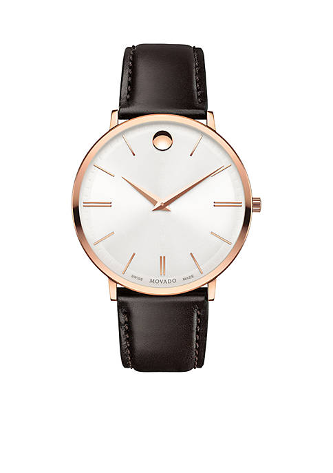 Mens Ultra Slim Rose Gold-Tone Watch