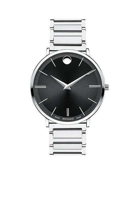 Movado Mens Stainless Steel Ultra Slim Watch