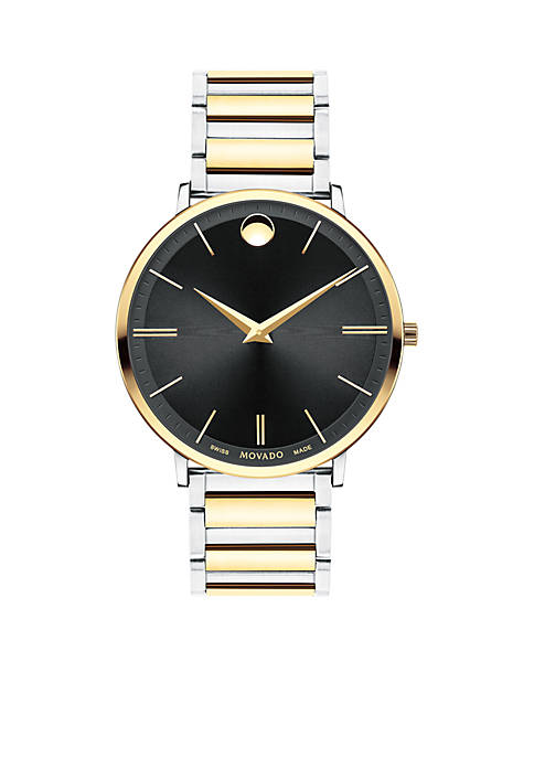 Movado Mens Two-Tone Stainless Steel Ultra Slim Watch