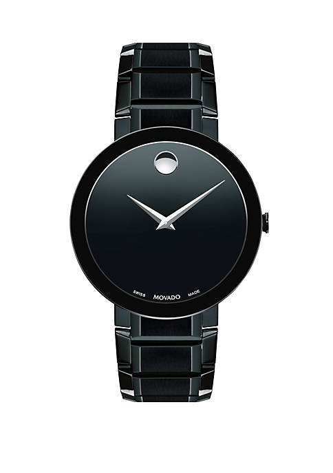 Movado Stainless Steel Sapphire Leather Strap Watch