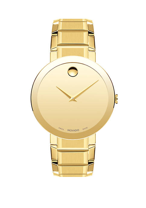 Movado Gold-Tone Stainless Steel Sapphire Bracelet Watch