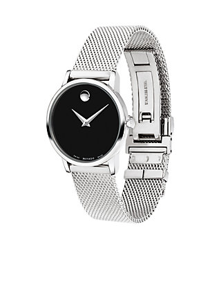 1254ad75f ... Movado Womens Stainless Steel Classic Museum Mesh Bracelet Watch ...