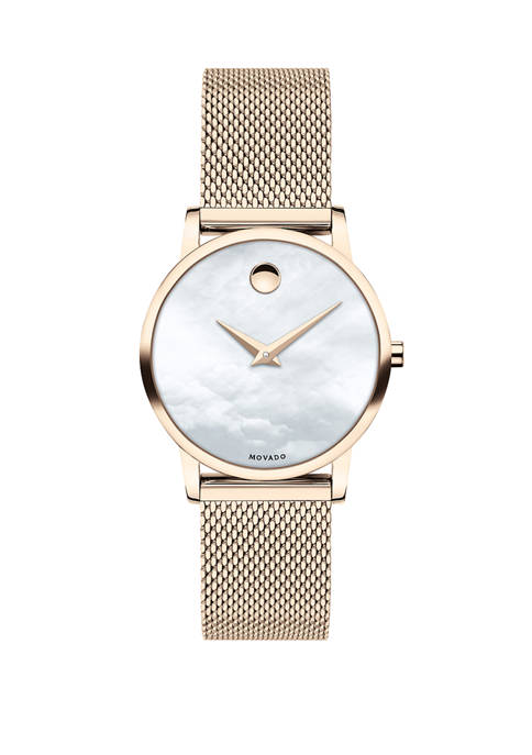 Movado Womens Swiss Museum Pink Carnation PVD Stainless