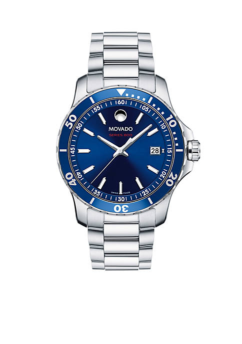 Movado Mens Series 800 Stainless Steel Blue Dial