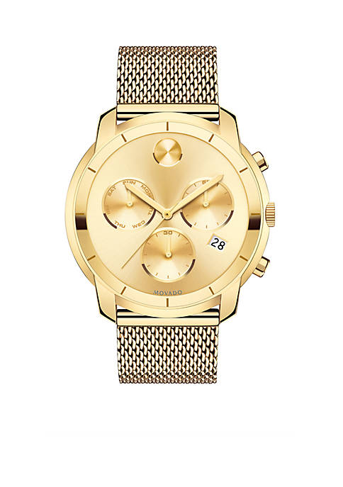 Mens Bold Gold-Tone Chronograph Watch
