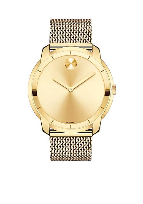 Mens Bold Yellow Gold-Tone Watch