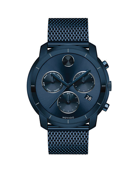 Movado Mens Bold Chronograph Blue Watch