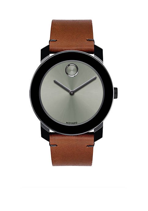 Mens Stainless Steel BOLD Cognac Leather Watch