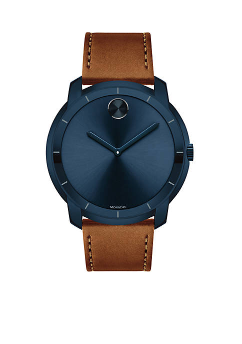 Movado Mens Blue Stainless Steel BOLD Cognac Leather