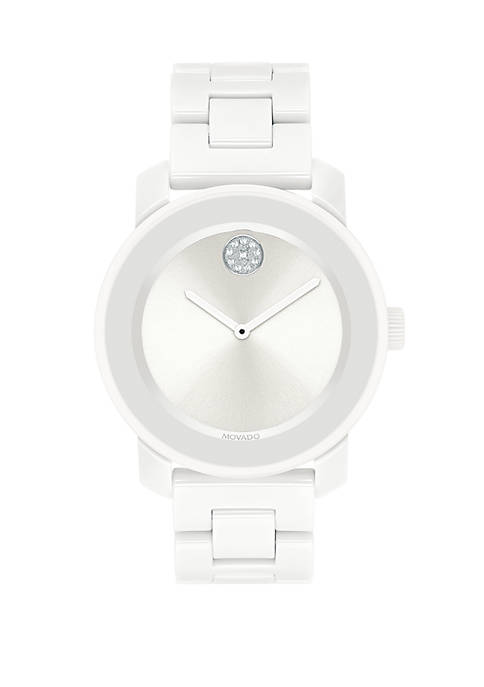Movado Bold White Ceramic and Stainless Steel Bracelet
