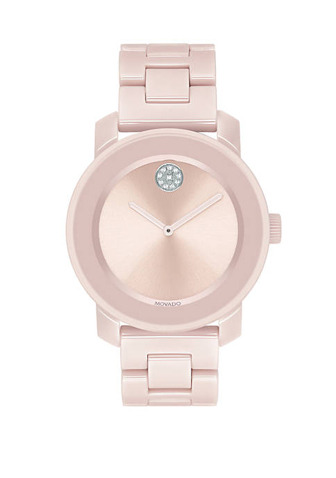 Movado Bold Blush Ceramic and Stainless Steel Bangle