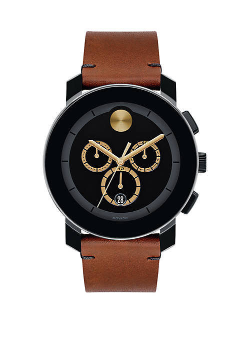 Movado Stainless Steel Large BOLD Chronograph Leather Strap