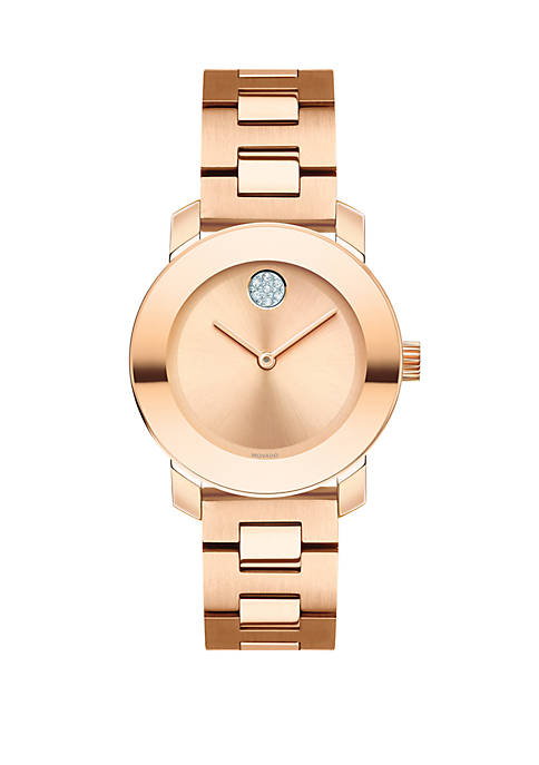 Movado Rose Gold-Tone Stainless Steel BOLD Bracelet Watch