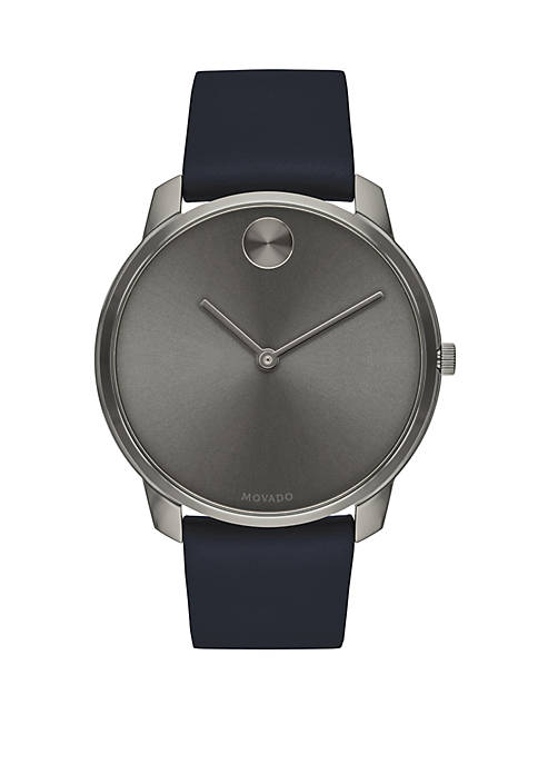 Ion Plated Stainless Steel Bold Blue Leather Strap Watch