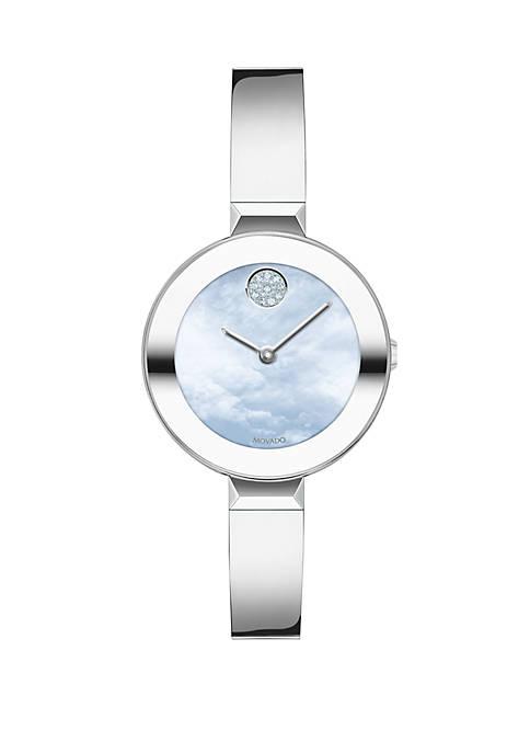 Womens 28 Millimeter Swiss Bold Stainless Steel Bangle Bracelet Watch