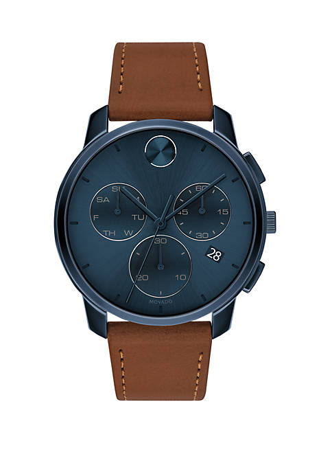 Mens 42 Millimeter Stainless Steel Bold Leather Strap Watch