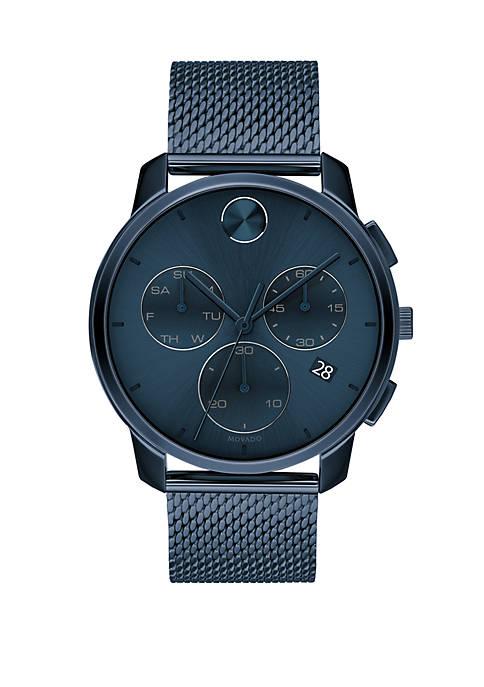 Mens 42 Millimeter Stainless Steel Bold Mesh Bracelet Watch