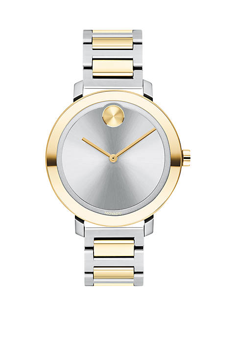 Movado Womens 2 Tone Bold Bracelet Watch
