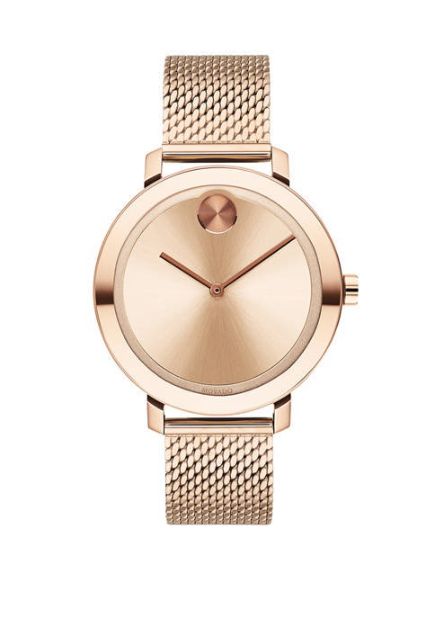 Movado Womens Evolution Swiss BOLD Carnation Gold Ion
