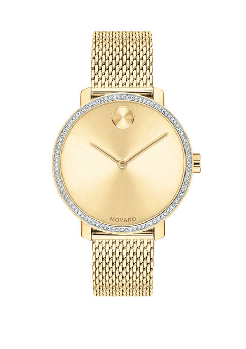 Movado Womens Gold Tone Stainless Steel BOLD Mesh
