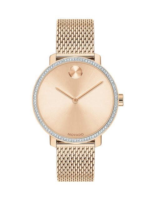 Movado Womens Rose Gold Tone Ion Plated Stainless