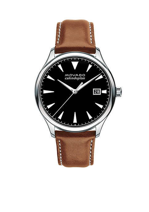 Movado Mens Heritage Series Caledoplan Brown Leather Watch