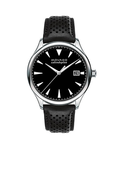 Movado Mens Heritage Series Calendoplan Black Leather Watch