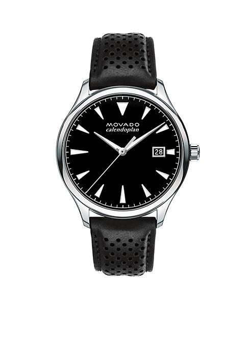 Mens Heritage Series Calendoplan Black Leather Watch