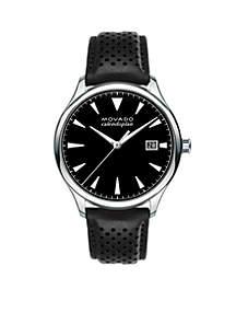 Men's Heritage Series Calendoplan Black Leather Watch