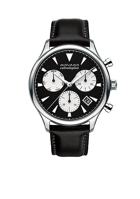 Movado Mens Heritage Black and Silver Chronograph Watch