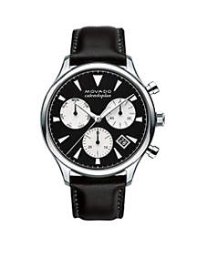 Men's Heritage Black and Silver Chronograph Watch