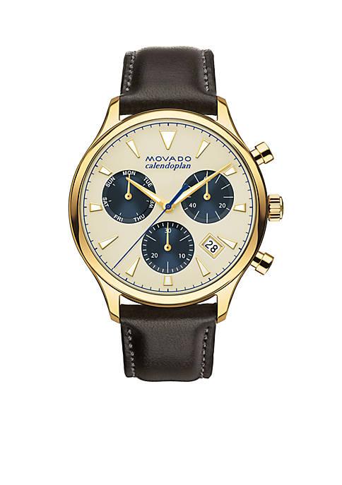 Movado Mens Heritage Series Calendoplan Beige Dial Watch
