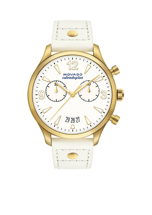 Movado Womens Gold-Plated Heritage Series Calendoplan Chronograph