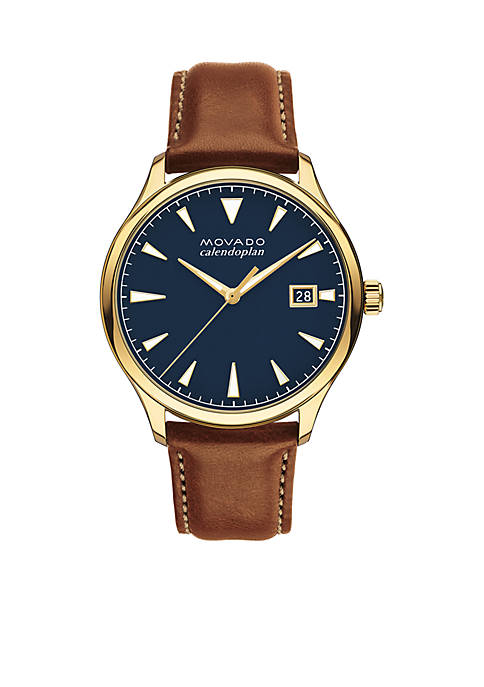 Movado Mens Gold-Plated Heritage Series Calendoplan Cognac