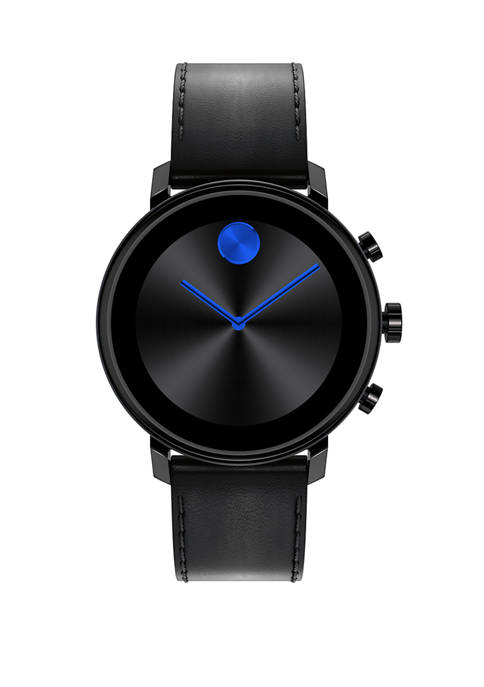 Movado Mens Connect Bold Leather Strap Watch