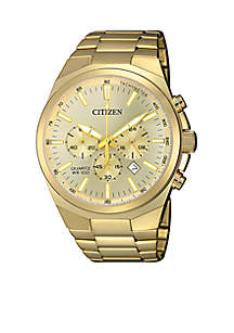 Men's Gold-Tone Stainless Steel Quartz Chronograph Watch With Date