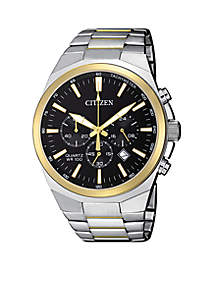 Men's Two-Tone Stainless Steel Quartz Chronograph Watch With Date