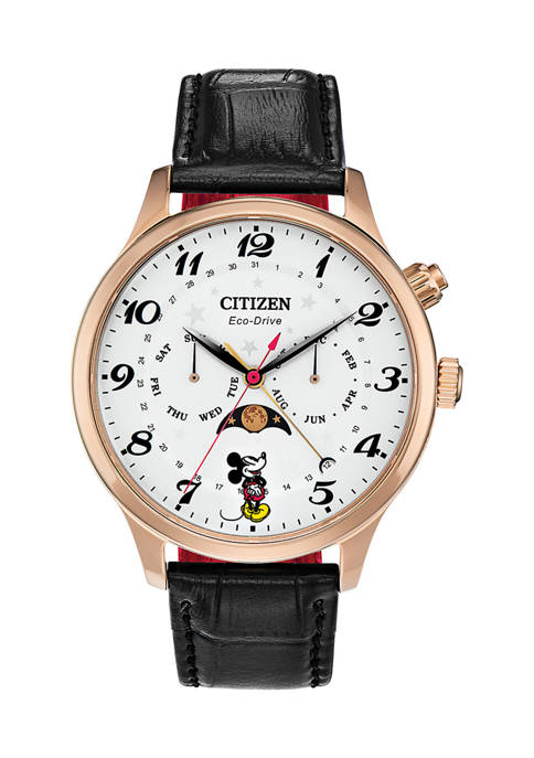 Mickey Looking at the Moon Phase Strap Watch