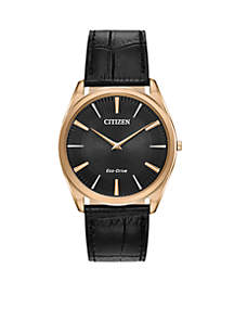 Men's Rose Gold-Tone Stainless Steel Eco-Drive Stiletto Black Leather Strap Watch