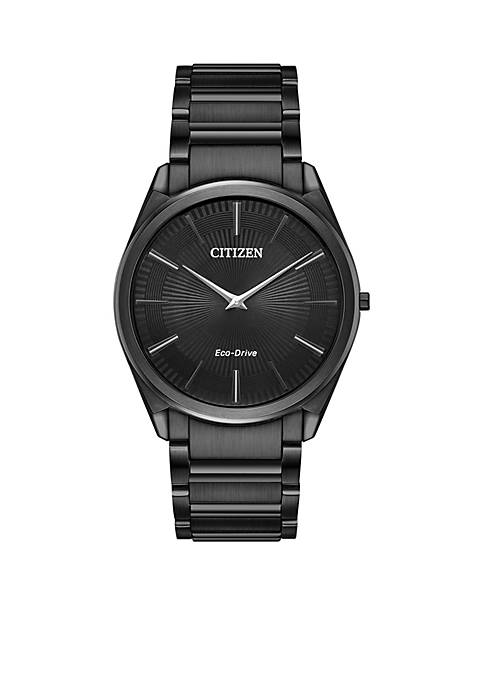 Citizen Mens Stainless Steel Eco-Drive Stilleto Black IP