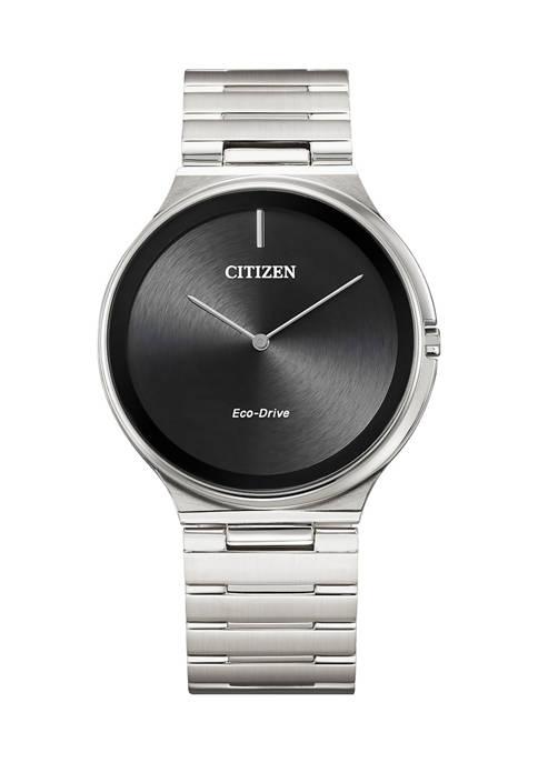 Citizen Eco Drive Mens Stiletto Silver Tone Stainless