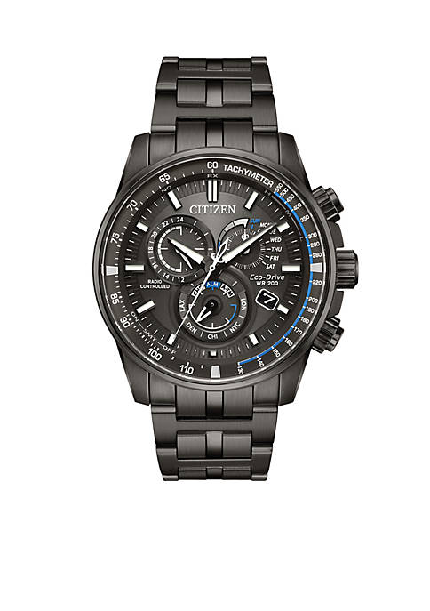 Citizen Mens Gray Stainless Steel Eco-Drive PCAT Bracelet