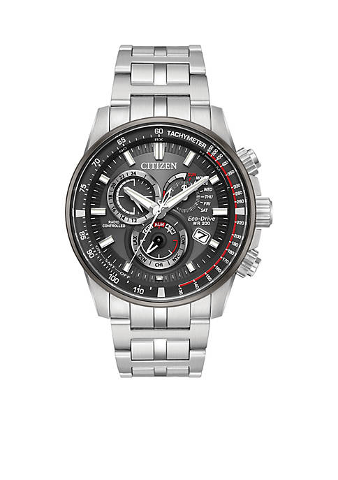 Mens Citizen Eco-Drive Stainless Steel Watch with Perpetual