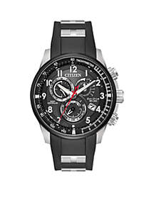 Men's Citizen Eco-Drive Stainless Steel Watch with Perpetual Calendar and Black SS & Polyurethane Combination Bracelet/Strap