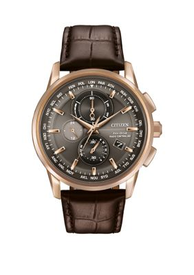 Citizen Mens World Chronograph A-T Brown Leather Strap Watch